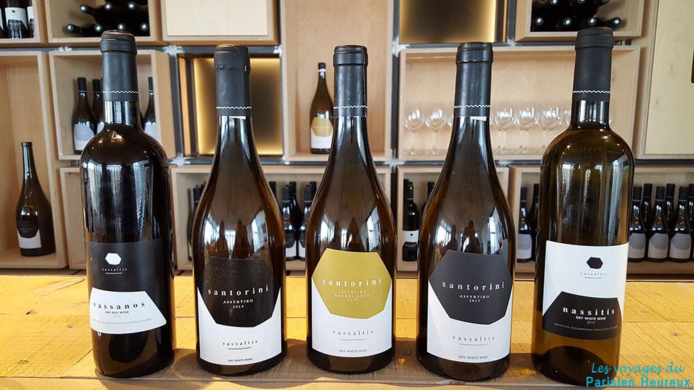 Les bouteilles de vins de Vassaltis Vineyards