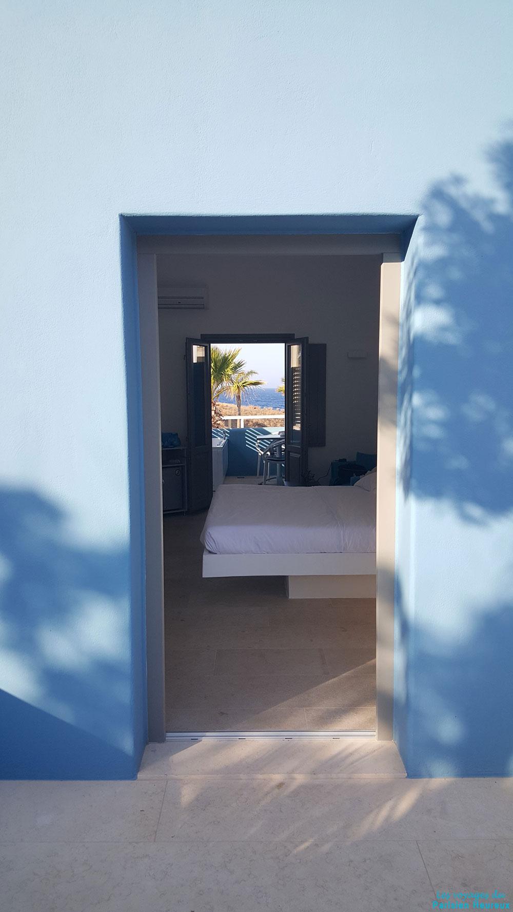 Vue des chambres de l'hôtel Aurora Luxury Hotel & Spa à Santorin