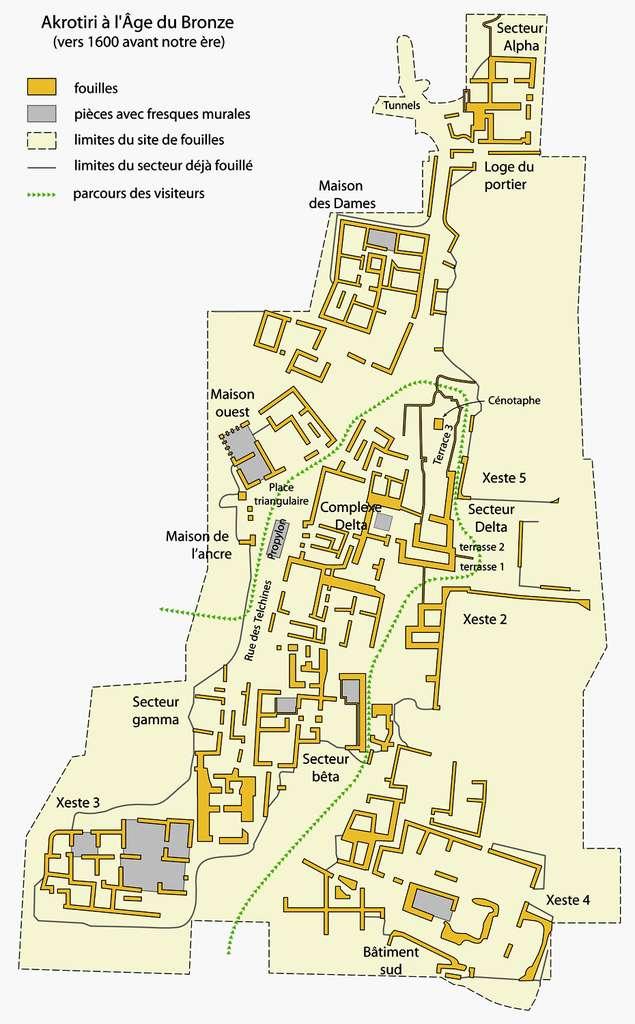 Plan cité antique Akrotiri