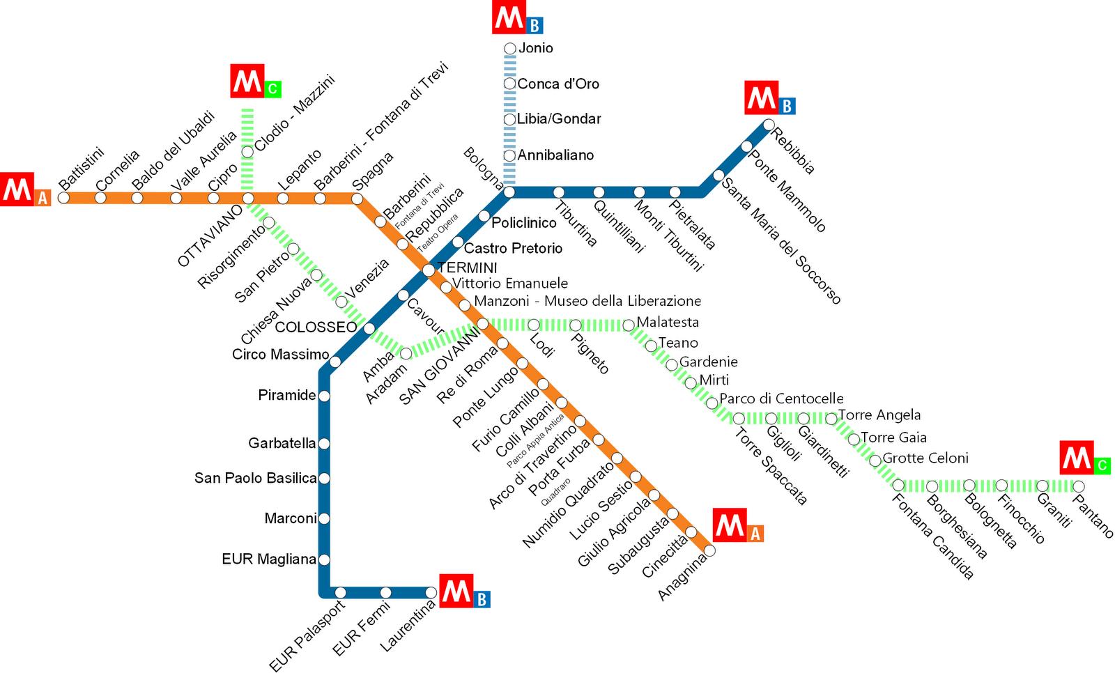 Plan métro Rome
