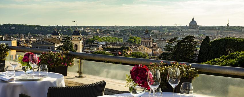 Vue de l'hôtel Sofitel Villa Borghese de Rome