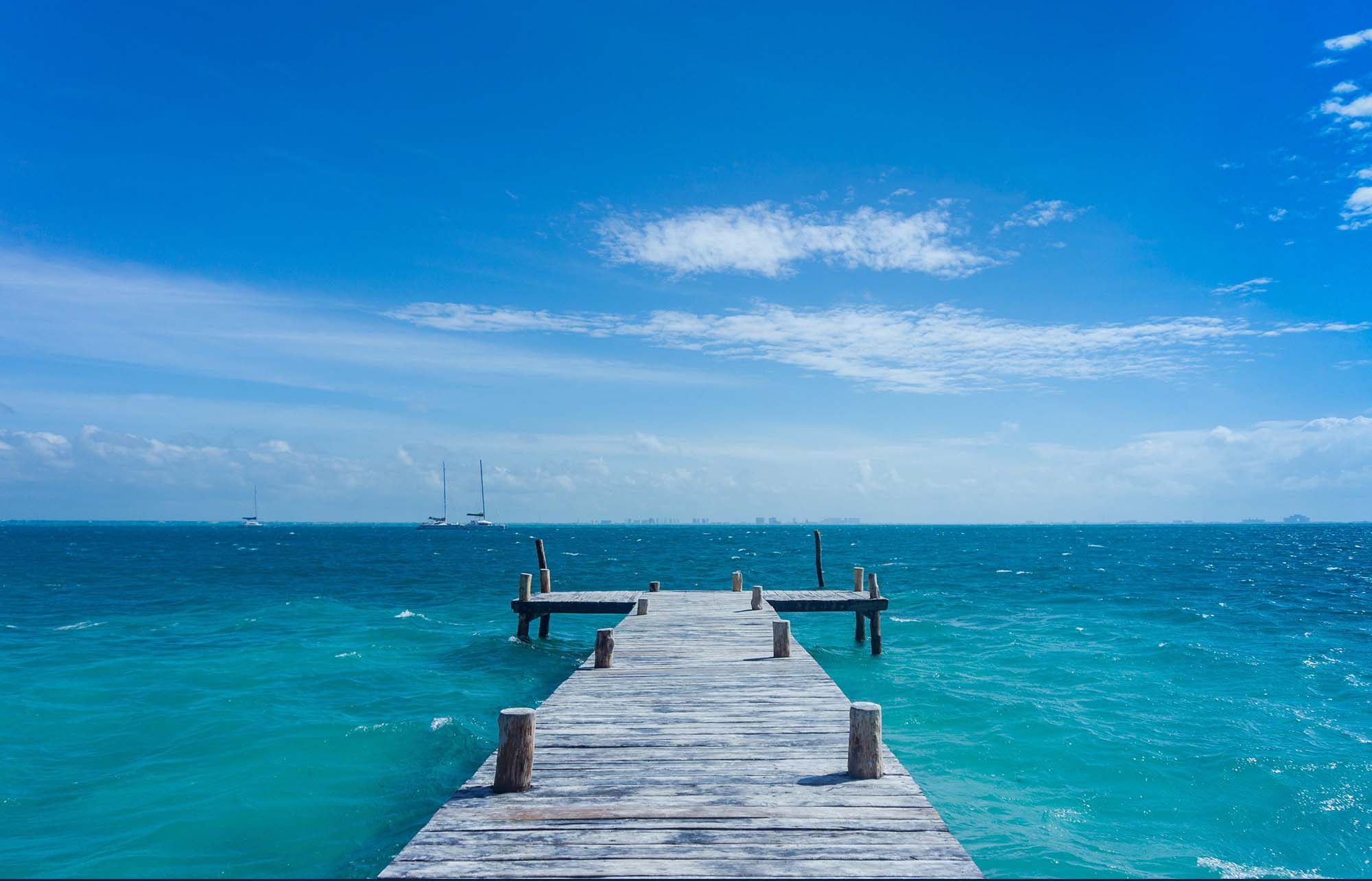 La mer à Isla Mujeres au Mexiqu
